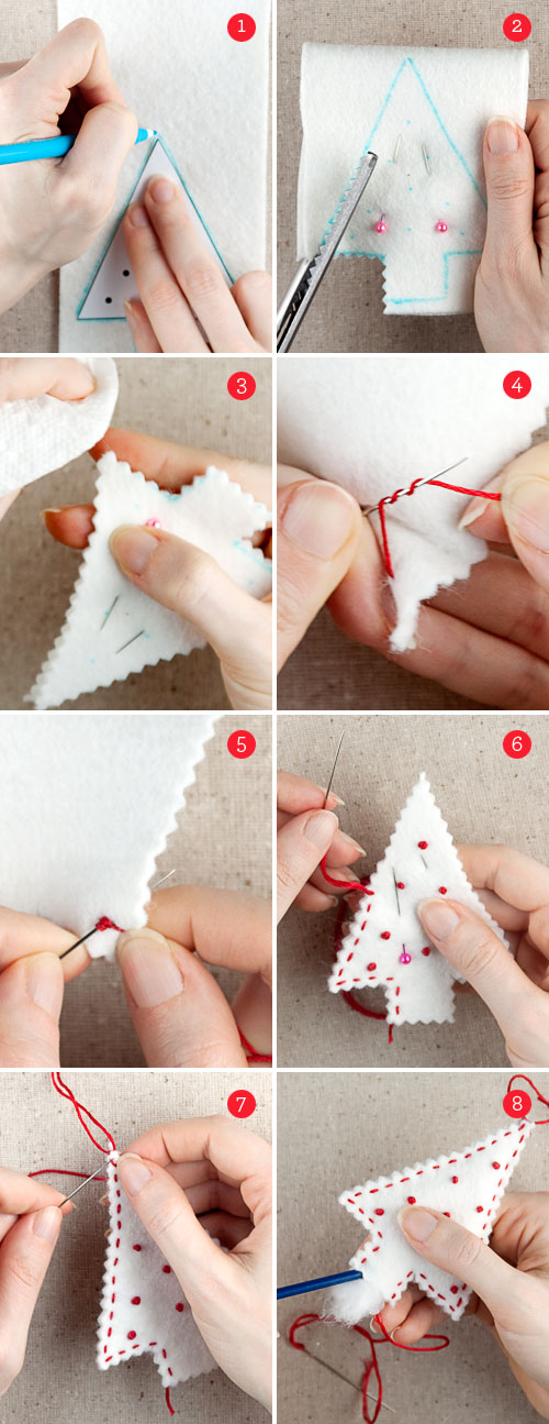 Felt Holiday Ornaments Instructions