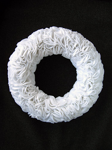 Ruffly Felt Rosette Wreath. Have you ever started a project thinking,
