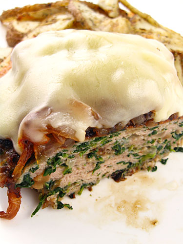 Chicken Burgers with Spinach and Caramelized Onions