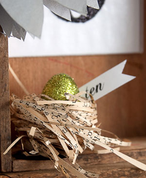 Book Page Bird Nest with Glitter Egg