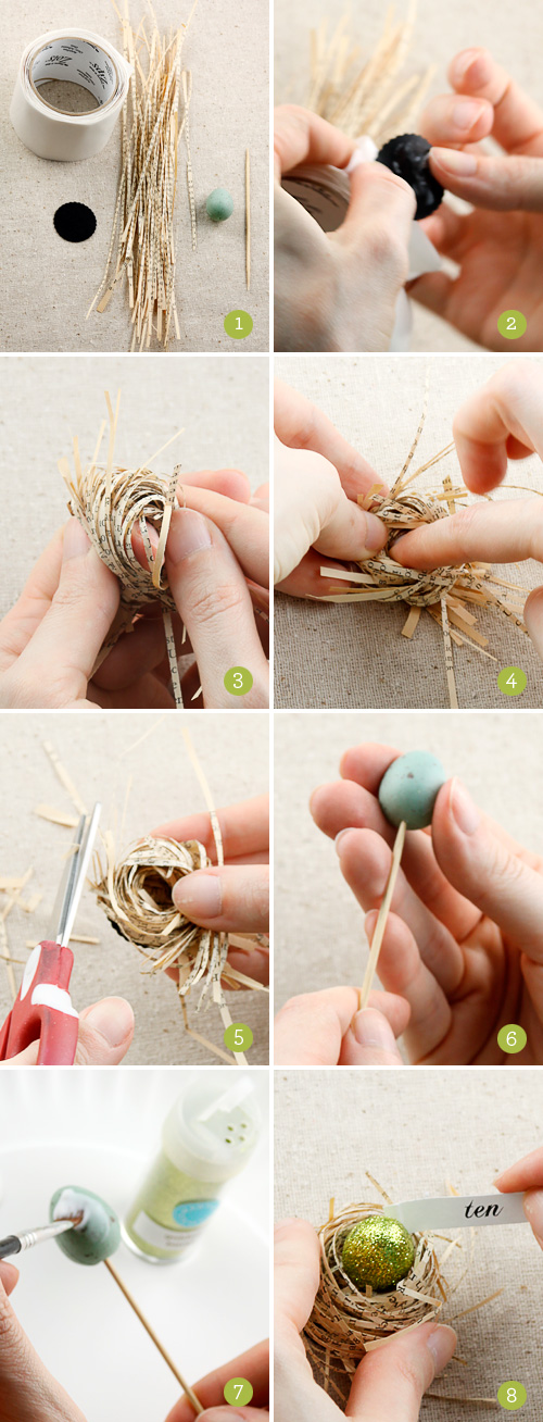 How to Make Book Page Bird Nests with Glittered Eggs