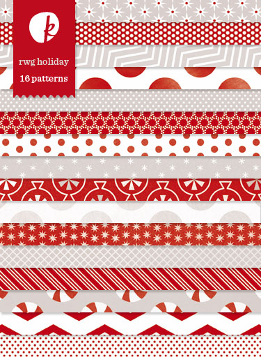 Red White Gray Holiday Patterned Papers