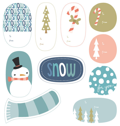 Printable Wintry Holiday Tags